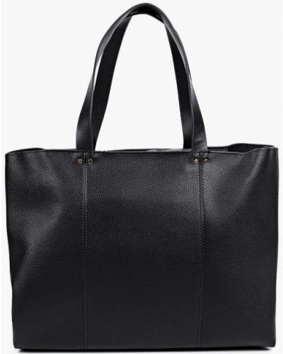 Черная сумка шоппер из натуральной кожи Mango