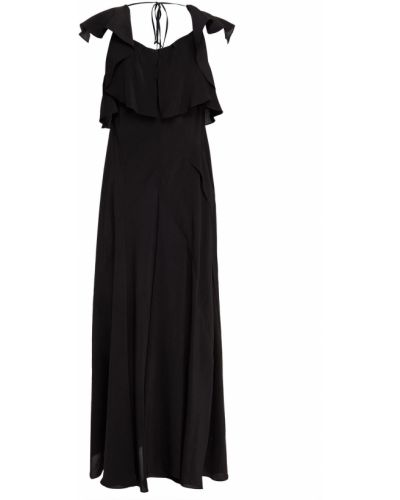 Льняное платье миди - черное Lanvin