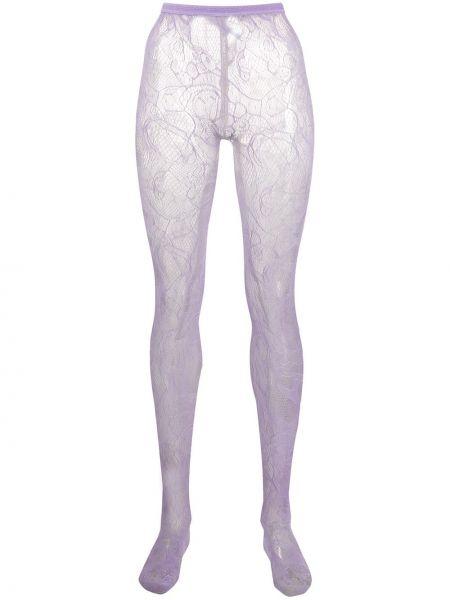 Rajstopy koronkowe - fioletowe Emilio Pucci