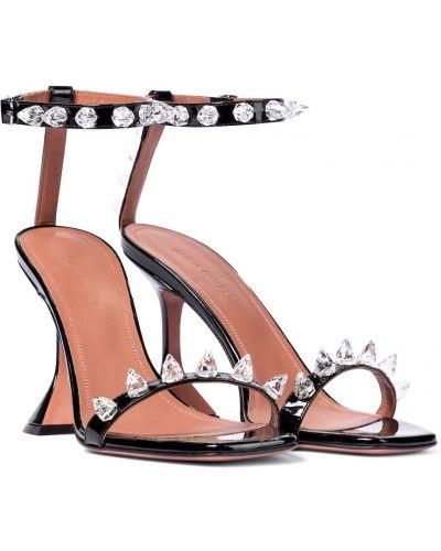 Черные кожаные сандалии для полных Amina Muaddi