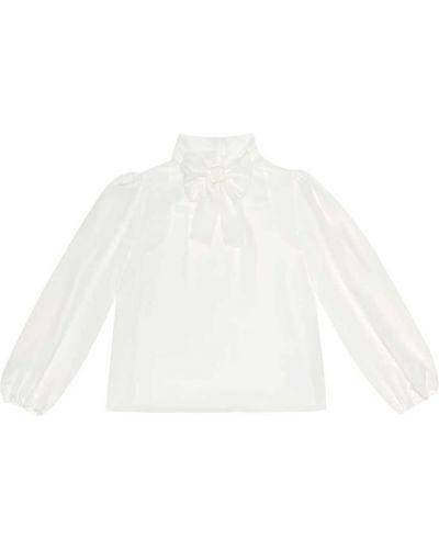 Шелковая блузка - белая Dolce & Gabbana Kids