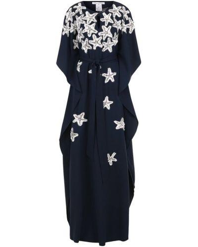 Платье макси с пайетками в рубчик Oscar De La Renta