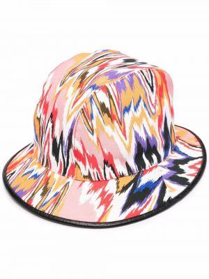 Różowy kapelusz bawełniany z printem Missoni
