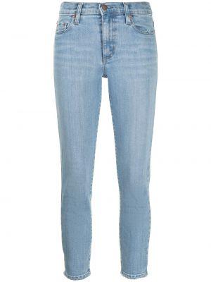 Хлопковые облегающие синие укороченные джинсы Nobody Denim