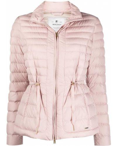 Пуховая розовая длинная куртка с карманами Woolrich
