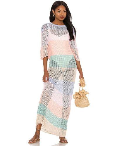Текстильное открытое розовое платье макси Pitusa