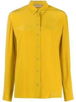 Желтая шелковая с рукавами классическая рубашка Emilio Pucci