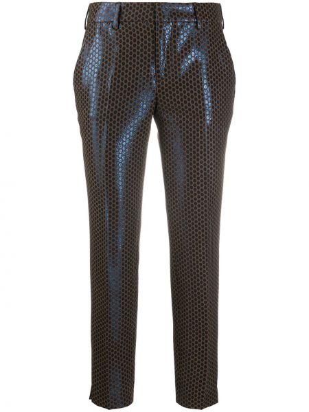 Синие укороченные брюки с поясом с декоративной отделкой металлические Pt01