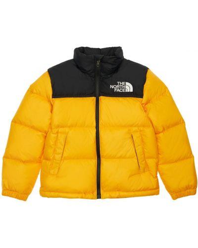 Puchaty żółty kurtka z kieszeniami z mankietami The North Face
