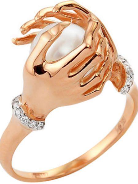 Золотистое белое кольцо с жемчугом Contessa