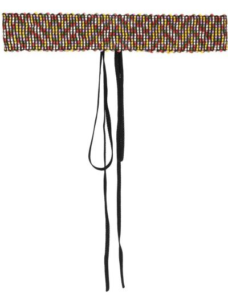 Черный ремень из вискозы с завязками с вышивкой Missoni