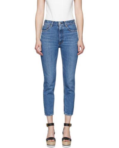 Zawężony niebieski jeansy do kostek zabytkowe z paskiem Moussy Vintage