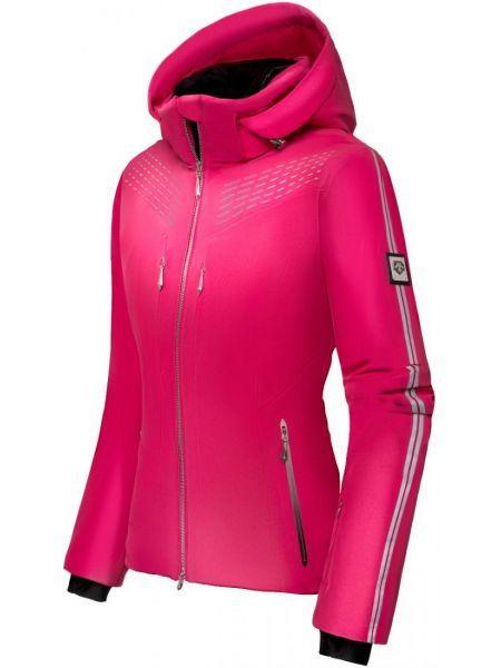 Тонкая розовая нейлоновая куртка с капюшоном с опушкой Descente