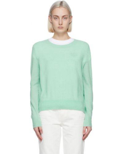 Зеленый шерстяной длинный свитер с воротником A.p.c.