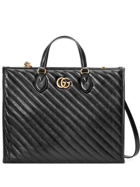 Кожаная черная сумка-тоут на молнии Gucci