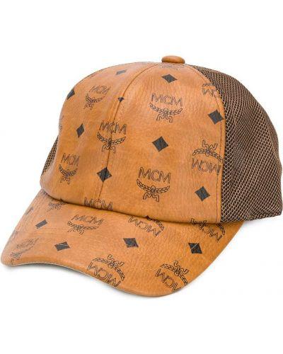 Brązowa czapka z siateczką bawełniana Mcm