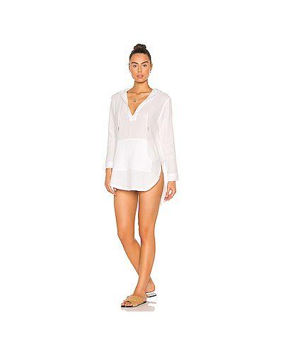 Хлопковое белое платье с капюшоном с завязками L*space
