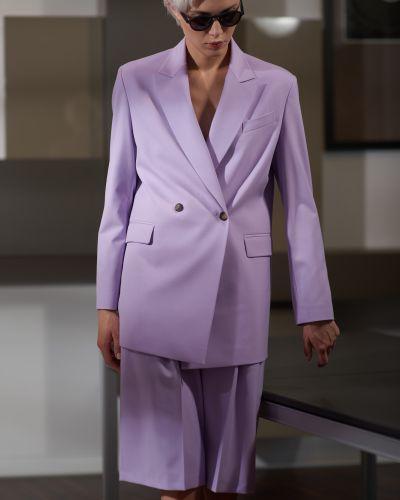 Повседневный фиолетовый пиджак двубортный из вискозы Vassa&co