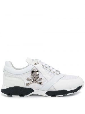 Białe sneakersy skorzane sznurowane Philipp Plein