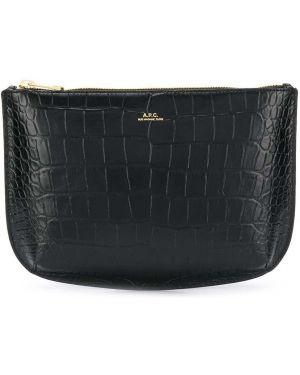 Черная кожаная сумка с тиснением из натуральной кожи A.p.c.