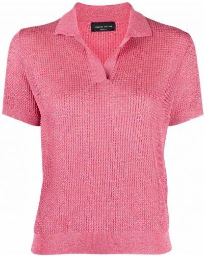 Розовый прямой топ с короткими рукавами Roberto Collina
