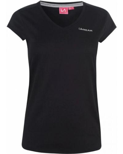 Czarny t-shirt bawełniany z dekoltem w serek La Gear