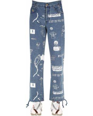 Niebieskie spodnie skorzane z paskiem Kidsuper Studios