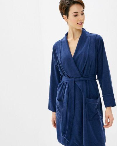 Флисовый синий домашний халат Paramour