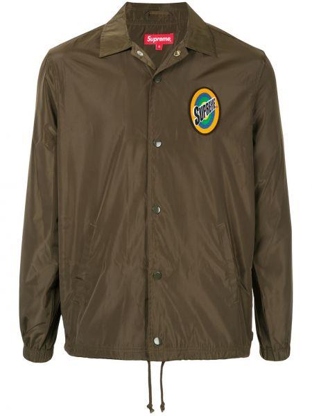 Зеленая спортивная куртка с воротником на кнопках Supreme