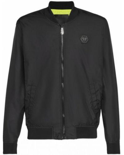 Czarna długa kurtka z nylonu z długimi rękawami Philipp Plein