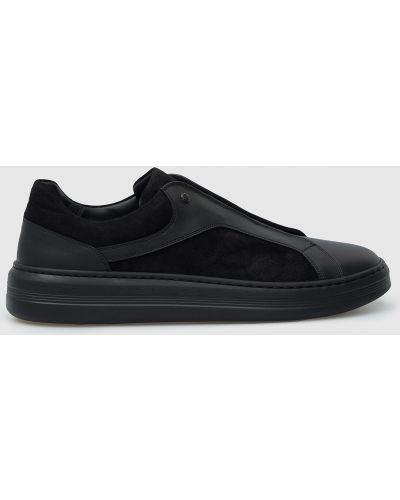 Замшевые кроссовки - черные Stefano Ricci