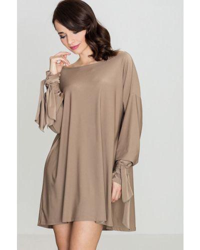 Beżowa sukienka materiałowa Katrus