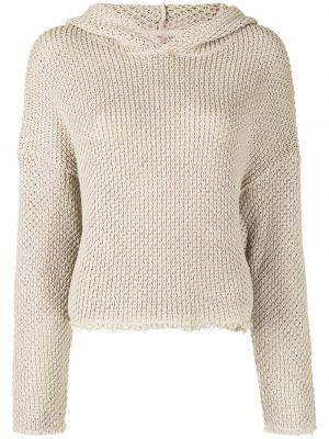 Beżowa bluza długa z kapturem z długimi rękawami Rta