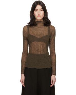 Блузка с длинным рукавом с воротником-стойкой в полоску Issey Miyake