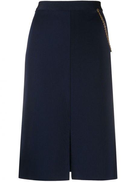 Niebieska złota spódnica midi z wysokim stanem Givenchy