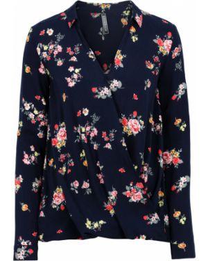 Блузка с длинным рукавом с запахом асимметричная Bonprix