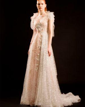 Ażurowa sukienka mini z cekinami krótki rękaw Sandra Mansour