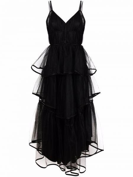 Шелковое приталенное черное платье макси Alberta Ferretti