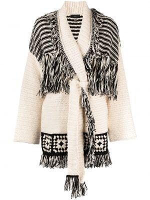 Белое длинное пальто с лацканами с опушкой Alanui