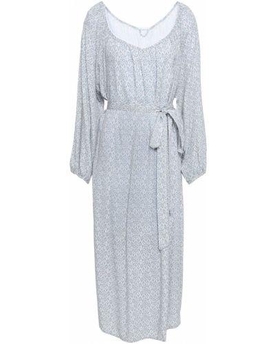 Niebieska sukienka midi z paskiem Eberjey