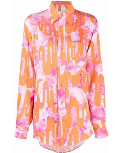 Koszula z jedwabiu - różowa Collina Strada
