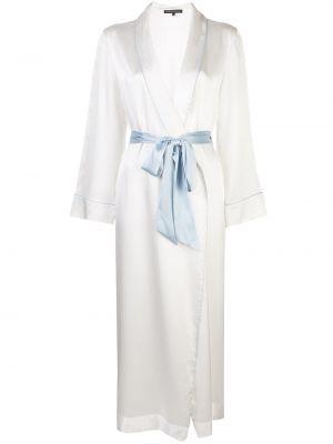 С рукавами шелковый белый халат с поясом Kiki De Montparnasse