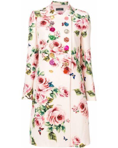 Пальто с цветочным принтом шерстяное Dolce & Gabbana