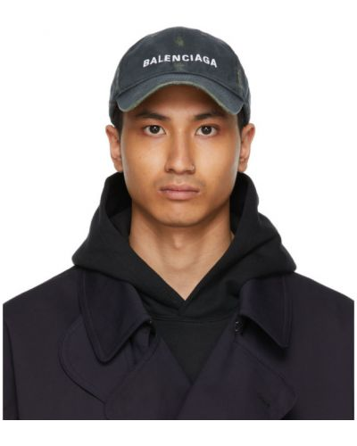 Biała czapka bawełniana z haftem Balenciaga