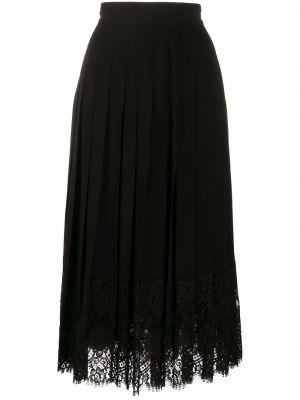 Шелковая кружевная черная юбка миди Dolce & Gabbana