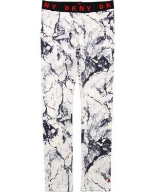 Białe legginsy z printem Dkny