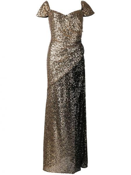 Вечернее платье золотистое Badgley Mischka