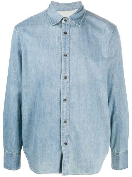 Niebieski koszula jeansowa z kołnierzem z mankietami zapinane na guziki Rag & Bone