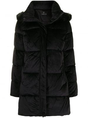 Czarny długi płaszcz z kapturem Unreal Fur