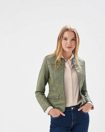 Кожаная куртка весенняя зеленая Fascinate